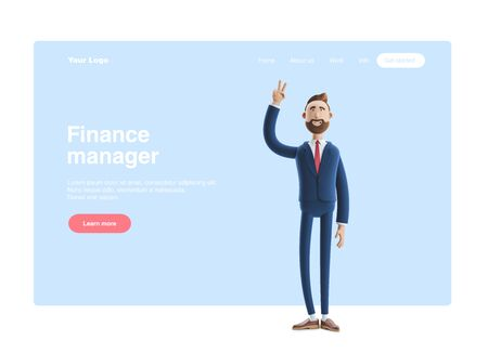 Portrait of a handsome cartoon character showing victory sign. 3d illustration. Web banner, start site page, infographics, concept. Reklamní fotografie