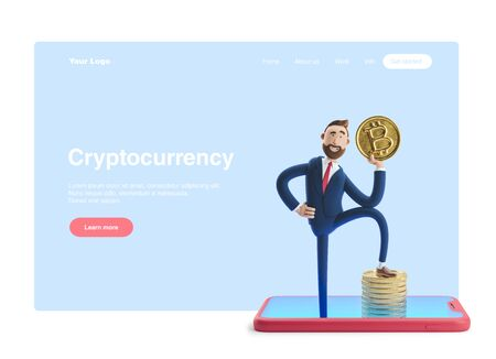 Cartoon character Billy with bitcoin. Mobile banking concept. Online Bank. 3d illustration. Web banner, start site page, infographics, cryptocurrency concept. Reklamní fotografie