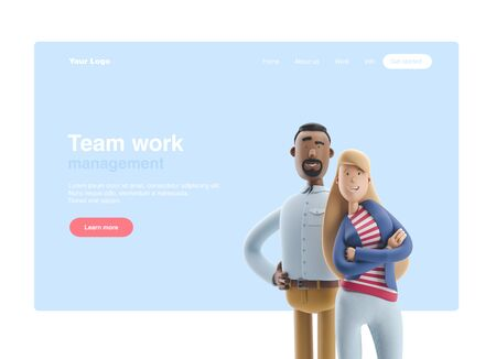 Cartoon character Stanley and Emma stand on blue  background. 3d illustration. Web banner, start site page, infographics, teamwork concept. Reklamní fotografie