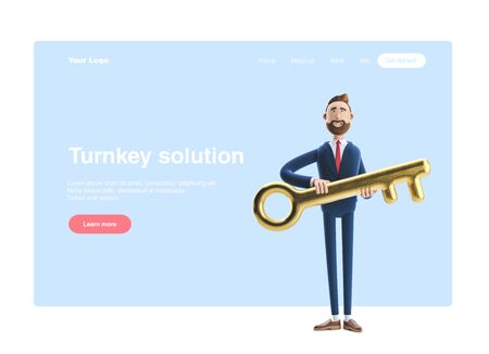Portrait of a handsome businessman Billy with golden key. 3d illustration. Web banner, start site page, infographics, turnkey solution concept.