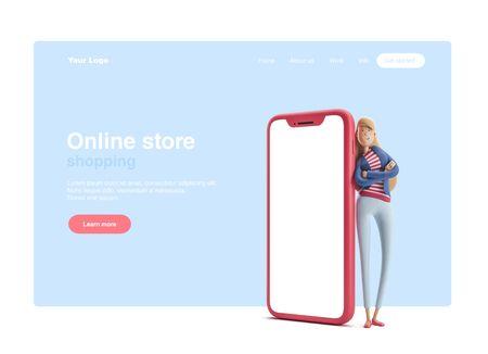 Giovane donna d'affari Emma in piedi con un grande telefono su sfondo blu. illustrazione 3D. Banner Web, pagina iniziale del sito, infografica, concetto di shopping online. Archivio Fotografico