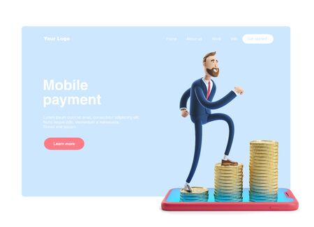 Cartoon character Billy goes to success. 3d illustration. Concept of financial growth. Money on smartphone, coin holding. Web banner, start site page, infographics, mobile payment concept.