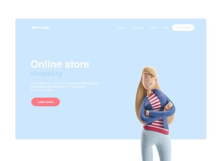 Young business woman Emma standing on a blue background. 3d illustration. Web banner, start site page, infographics, concept. Reklamní fotografie
