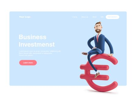 Businessman Billy with big euro sign. 3d illustration. Web banner, start site page, infographics, business investments concept.