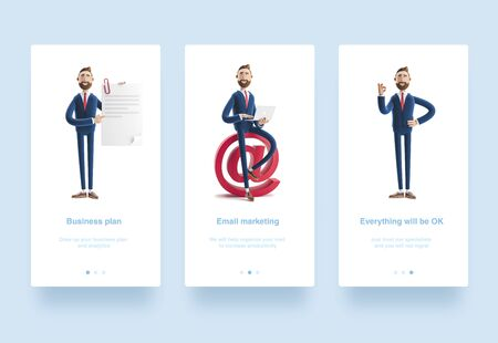Illustration set. Handsome cartoon character Billy holds a completed document. 3d illustration. Cartoon character businessman Billy shows okay or OK gesture. Portrait of a handsome businessman with laptop and at sign. Social media concept.
