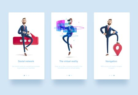 Illustration set. Businessman Billy using virtual reality glasses and touching vr interface. 3d illustration. Portrait of a handsome cartoon character and map pin. GPS concept. Conversation concept.  businessman with phone and bubble talk.