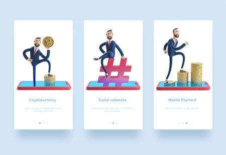 Illustration set. Cartoon character Billy Billy sitting on a hashtag icon. The concept of social media. 3d illustration. Cartoon character Billy with bitcoin. Mobile banking concept. Online Bank. Cryptocurrency. . Money on smartphone, coin holding