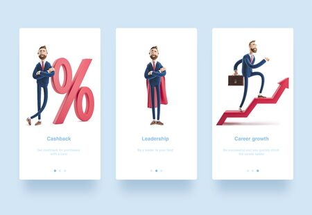 3d Illustration set. Cartoon character Billy goes to success. Concept of financial growth. Dashboard with the analysis of finance. Billy and big percent icon. Concept business interest rate.
