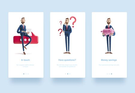 Illustration set. Portrait of a handsome cartoon character with piggy bank. Safe money storage concept. 3d illustration. Conversation concept. Portrait of a handsome businessman with laptop and bubble talk.  Businessman Billy looking for a solution