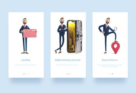 Illustration set. Cartoon character Billy stand with a telephone in the form of a safe. Mobile banking concept. Online Bank. 3d illustration. Businessman Billy with pink credit card.  cartoon character with phone and pin. GPS concept.