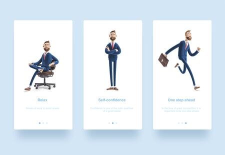 Illustration set. Cartoon character Billy with a case running. 3d illustration.  Portrait of a handsome businessman sitting on office chair. Stok Fotoğraf