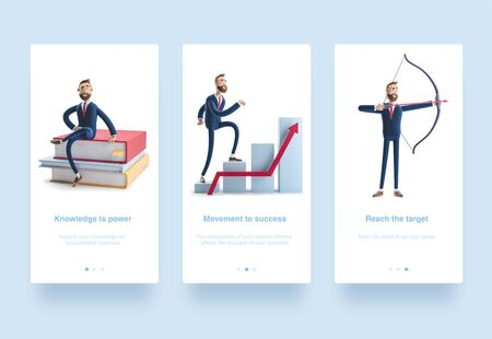 3d Illustration set. Concept of financial growth. Dashboard with the analysis of finance. Reklamní fotografie