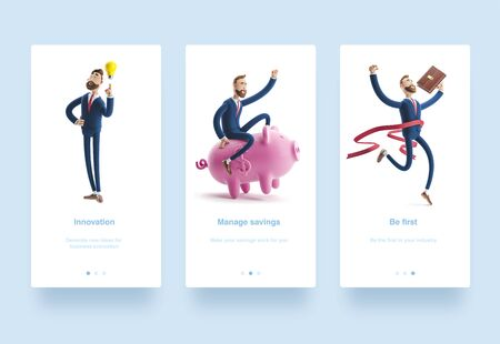Illustration set. Cartoon character Billy winning the competition. Successful businessman. 3d illustration.  character with piggy bank. Safe money storage concept. Businessman Billy with yellow bulb.  写真素材