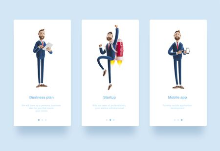 Illustration set. Portrait of a handsome cartoon character with mobile phone. 3d illustration. Businessman is holding a notebook and smiling. Businessman Billy flying on a rocket Jet pack up