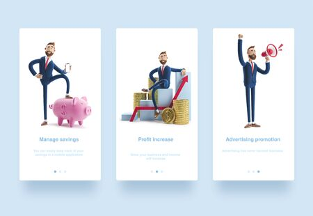 3d Illustration set. Cartoon character Billy goes to success. Concept of financial growth. Dashboard with the analysis of finance. Фото со стока
