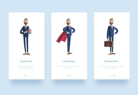 Illustration set. Portrait of a handsome cartoon character Billy stand with case. 3d illustration. Cartoon character Billy clothed like a superhero. Businessman holding credit card.