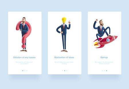 Illustration set. Businessman Billy with yellow bulb. Innovation and inspiration concept. 3d illustration. Businessman Billy flying on a rocket up. Cartoon character Billy looking for a solution.