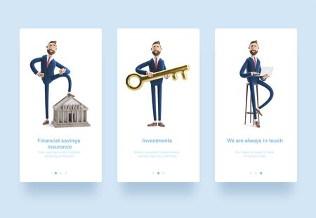 Illustration set. Portrait of a handsome cartoon character with laptop. 3d illustration. Portrait of a handsome businessman with bank building. Banking concept. Billy with golden key. Stockfoto - 129263656