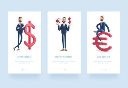 Illustration set. Businessman Billy with big dollar sign. 3d illustration. Businessman Billy with big euro sign.