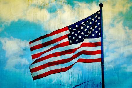 Abstract American flag waving on flagpole photo