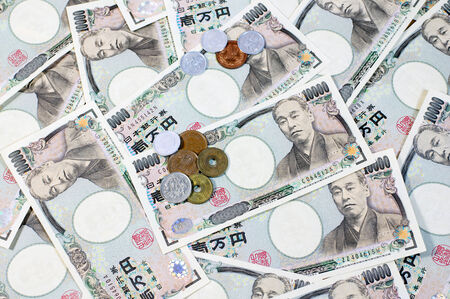 japanese currency: Japanese yen coin and Yen Bank Note, money background