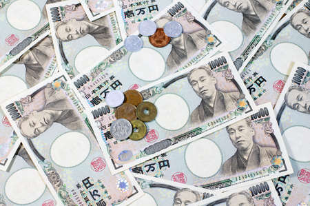 Japanese yen coin and Yen Bank Note, money background photo