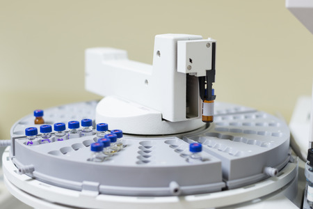 spectrometry: Vials in the autosampler tray  Chemistry lab