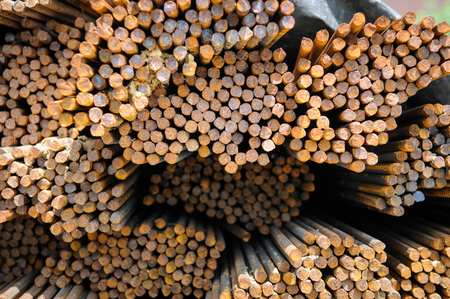 rebar: Steel rebar stacked in a construction site