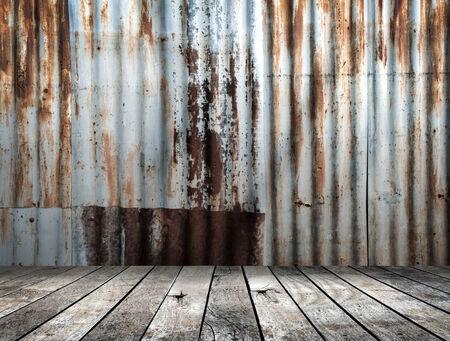 pisos de madera: Chapa de hierro galvanizado Oxidada con piso de madera