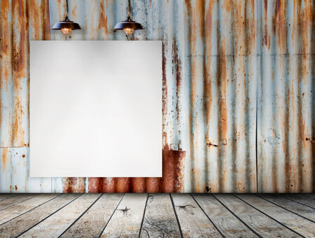 wood floor: Blank frame on Rusted galvanized iron plate with wood floor Stock Photo
