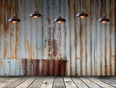 floor lamp: Lamp at Rusted galvanized iron plate with wood floor