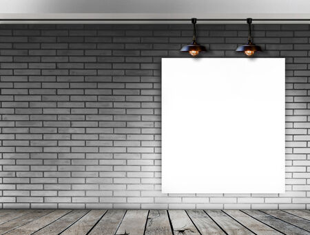 Blank frame on White Brick wall with Ceiling lamp photo