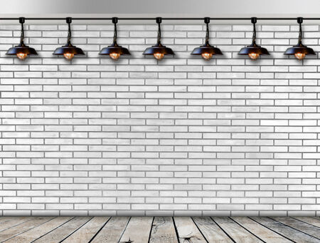 Ceiling lamp whit White Brick wall photo