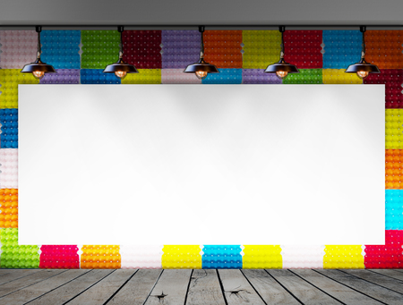 teaching material: Blank frame on Colorful Paper egg tray wall and wood floor for information message