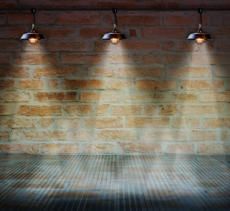 Lamp at brick wall background with glass floor photo