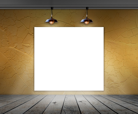 Blank frame in room with ceiling lamp for information message photo