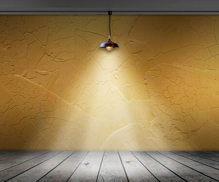 floor lamp: Lamp in Empty room with wall and wooden floor interior background, Template for product display Stock Photo