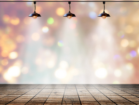 interior layout: Lamp in bokeh background  with Wood plank floor, Template for product display Stock Photo