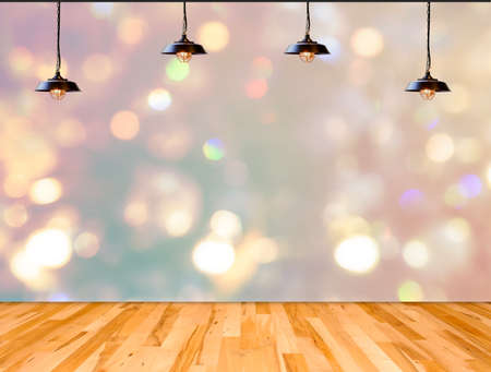 floor lamp: Lamp in bokeh background  with Wood plank floor, Template for product display Stock Photo