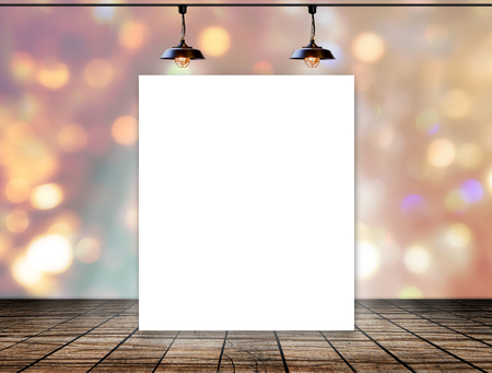 Blank frame on bokeh background with Ceiling lamp for information message