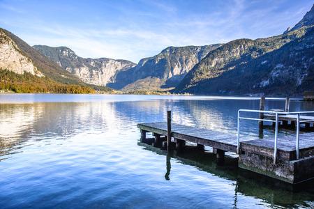 wooden pier in Salzkammergut Lakes, Austria photo