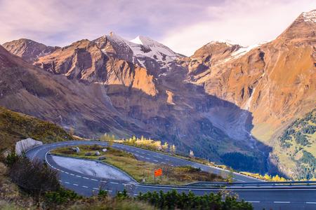 tauern: Alpine road in the Alps mountains. Hohe Tauern National park. Grossglockner High Alpine Road, Austria Stock Photo