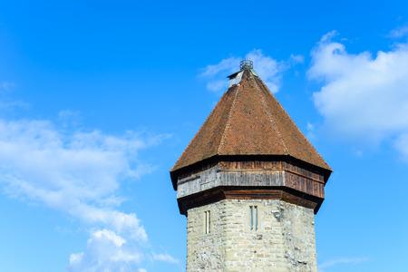 Tower of Chapel Bridge in Lucerne, Switzerland photo
