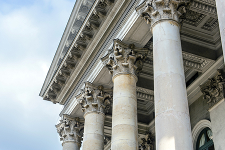 exterior house: Columns in front of facade roof Stock Photo