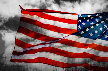Abstract American flag waving on flagpole Stock Photo