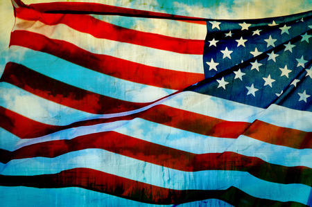 stars and stripes background: Abstract American flag waving on flagpole Stock Photo