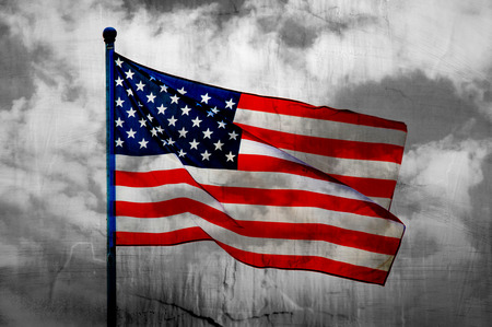 white day: Abstract American flag waving on flagpole Stock Photo