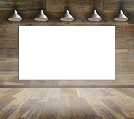 Blank Frame On Wood Wall With Ceiling Lamp For Information Message ...