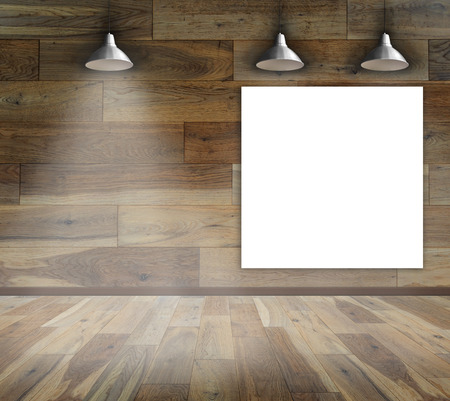 Blank frame on wood wall with Ceiling lamp for information message Stock Photo