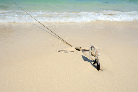water anchor: Anchor on a beach for boat anchors.